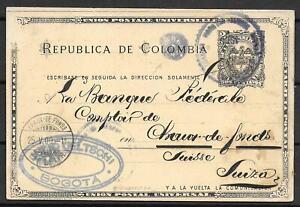 Colombia covers 1900 2C Postal Stationery Bogota to Chaux-de-Fonds/Switzerland