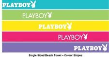 LICENSED PLAYBOY BEACH TOWEL MULTI COLORED STRIPES BUNNY LOGO 75 CMS X 150 CMS