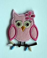 Pink Baby Owl Embroidered Embroidery Iron / Sew On Patch Badge Applique Motif