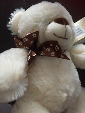 NEW MOTHERCARE TEDDY BEAR SOFT TOY WEARING BROWN PAWS RIBBON LIGHT CREAM PLUSH