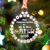 Personalised First Christmas Mr & Mrs Tree Decoration. Married Bauble Gift Clear