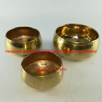 3 pcs Thai Handmade Solid Brass T-light Candle Holders Home Decor Votive holder