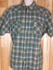 Outdoor Life Plaid Casual Button Up Short Sleeve Shirt Green Tan XL Fast Ship!!!