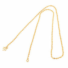 "18.5"" Yellow Solid Gold Plated Womens Water Wave Chain Necklace Fit Pendant"