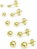5 Pair Set Stainless Steel Round Ball Stud Earrings for Women Men & Teens