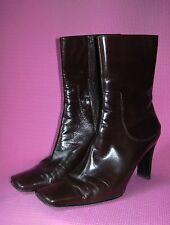 Nine West Chocolate Brown Leather Ankle Boots High Heel Womens 8.5 Shoes Yettao