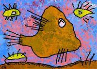 21022319 e9Art ACEO Abstract Figurative Fish Outsider Folk Art Brut Painting ATC