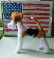 Needle felted wool white fox terrier mini sculpture one of a kind