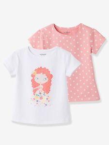Sommer Mädchen Kurzarm 2er-Pack T-Shirts Tops für Mädchen - rosa getupft+weiß