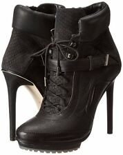 Bcbg Maxazria Nola Black Leather High-Heel Lace-Up Day Boots Size 8.5