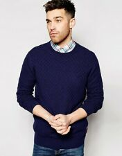 Ben Sherman Mens Crew neck textured knit sweater BNWT sz Large NEW blue