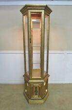VINTAGE CURIO CABINET, GOLD GILT ILLUMINATED DISPLAY SHELVES, HEXAGON CASE