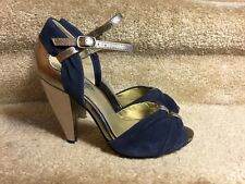 Seychelles Blue Suede Gold Leather Peep Toe Ankle Strap High Heels SZ.7