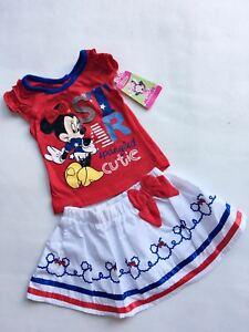 2Pcs Set Minnie Mouse Disney Girls Skirt Toddle Outfit Clothing