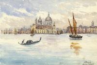 M. Abercrombie, Santa Maria Della Salute, Venice – 1885 watercolour painting