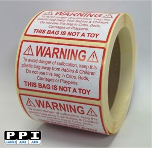 WARNING DANGER OF SUFFOCATION Labels Stickers for Poly Plastic Bags CSL-01-ROLL