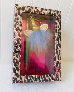 NEW Betsey Johnson Girl Boss Rainbow Glitter Pen Unicorn Heart Charm Gift Box