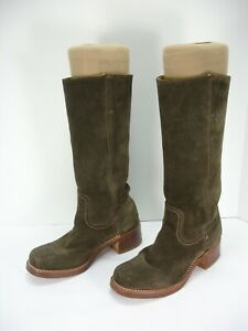 FRYE CAMPUS BOOTS BROWN SUEDE PULL-ON TALL BOOTS WOMEN'S 7.5 M