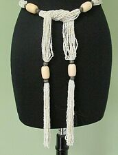"Vintage Ladies White Beaded Belt / 59"" Long / Excellent"
