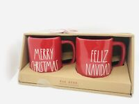Rae Dunn By Magenta MERRY CHRISTMAS & FELIZ NAVIDAD Red Mug, Set of 2
