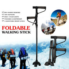 Adjustable Walking Stick Cane 2-handle Foldable Alpenstock With LED Light Strap