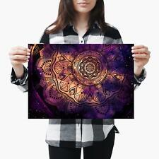 A3| Purple Abstract Mandala Geometric Size A3 Poster Print Photo Art Gift #2714