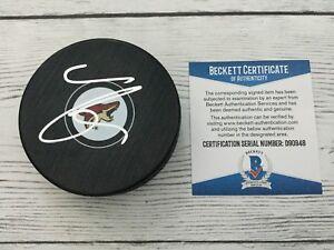Clayton Keller Signed Autographed Arizona Coyotes Hockey Puck Beckett BAS c