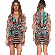 Women 3/4 Sleeves Geometric Pattern Vintage Print Loose Summer Dress Tide