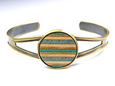 RECYCLED SKATEBOARD Wooden Open Ladies Cuff Bracelet Bangle Charm Wood