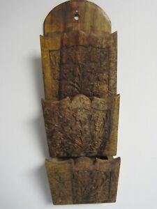 """Handmade Wood Letter Holder 3 Pocket 16"""" x 5"""" Vintage Carved Wood Design"""