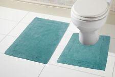 100 Cotton 2pc Bath & Pedestal Mat Sets Non Slip Extra Absorbent Bathroom Rugs Duck Egg