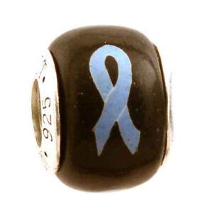 Light Blue Ribbon Prostate  Cancer Awareness Bead Charm for European Bracelet