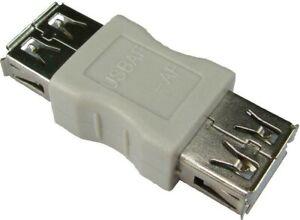 USB 2.0 A FEMALE SOCKET TO SOCKET CABLE ADAPTER / COUPLER, AF- AF GENDER CHANGER