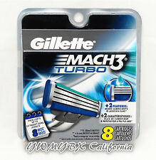 GILLETTE MACH3 Turbo Refill Blades 8 Cartridges, Brand New, (#00T8)