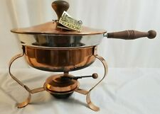 INTAGE Mid-Century ERNEST CREATIONS Copper Brass Wood Handle Large Fondue Pot