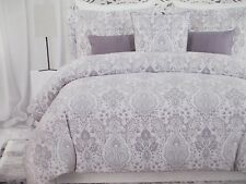 New NICOLE MILLER 3pc Lavender Purple Gray White Metallic Floral Duvet Set- King