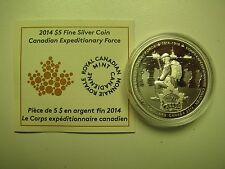 2014 Proof $5 Canadian Expeditionary Force Peace Freedom COIN&COA ONLY .9999 sil