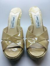 JIMMY CHOO Nude Size 39 Patent Leather Open Toe Espadrille Wedge