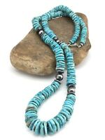 """Native Amercan Navajo Sterling Silver Blue Graduated Turquoise Necklace 32"""" 1338"""