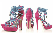 TOPSHOP PINK SUEDE LEATHER HIGH HEEL LACE UP SHOES PLATFORMS SANDALS NEW