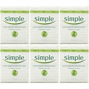 12 x Simple Sensitive Skin Soap Bar 125g, No Perfume Or Colour, For Body & Hands