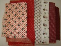 Vintage Lot Christmas Red Cotton Fabric Pieces Quilts Masks Dolls Clothes Crafts