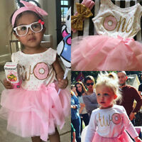 US Baby Girl 1st 2nd 3rd Birthday Tulle Tutu Dress Romper Dress+Headband Outfits
