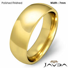 14k Gold Yellow 7mm Men Plain Comfort Dome Wedding Band Solid Ring 10.9g 10-10.7