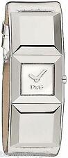 NEW D&G DOLCE GABBANA METAL STUD METALLIC SILVER LEATHER WATCH-DW0272