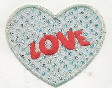 "3 1/4 x 4 1/8"" White Silver Disco Dot Love Heart Embroidery Applique Patch"
