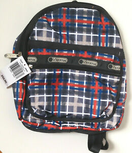 """Le SportSac NEW with tags 11""""  Nylon Red White black Blue Small  Backpack"""