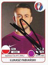 Lukasz Fabianski  Polen  Panini EM 2016 Sticker orig.signiert 450347