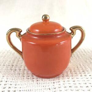 Goldcastle Orange & Gold Midcentury Ceramic Glazed Lidded Sugar Bowl