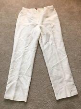 Ruby Road Womens Size 10 White Linen Straight Leg Career Pants Elastic Waist